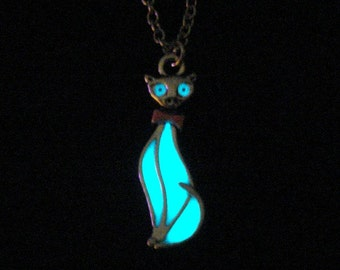Cat Necklace Glowing Jewelry Glow In The Dark Necklace Pendant Cat Jewelry Antique Silver (glows aqua blue)