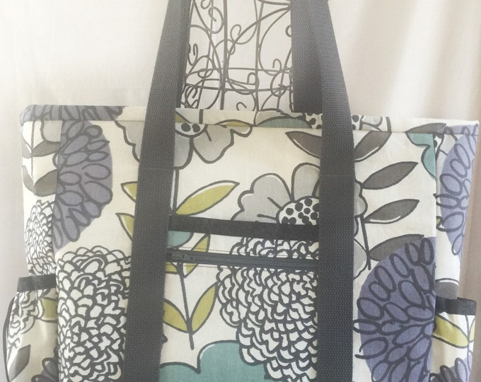 Large Zippered Tote Bag with Pockets for Teacher, Nurse, Travel, Diaper Bag, Professional, Work, Carry On