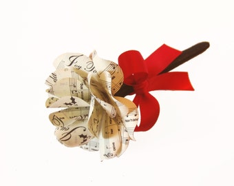Christmas Sheet Music Paper Rose Pen  Christmas Wedding Pen, Christmas Gift or Favor for Music Lovers and Musicians Joy To The World