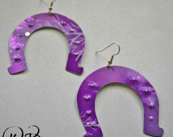 Lucky horseshoe earrings. Reclaimed recycled tin art