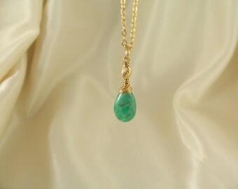 Organic emerald 13mm smooth pear briolette necklace 14k gold filled gemstone handmade MLMR item 494