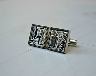 Black Circuit Board Cufflinks, Mens Suit Accessories, Modern Tech Computer Cufflinks, Groomsmen Daddy Gift For Him