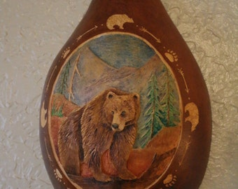 Gourd Carving of a Grizzly Bear, Bear Totem, Hardshell Gourd, Bear Lover, Cabin Decor, Bear Art, Grizzly Art, Woodsy, Outdoorsman, Nature