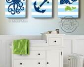 Nautical Nursery Decor Wall Art Set - Octopus Anchor Whale - Beach Ocean Décor -Baby Boy Room Decor -Set of 3 Canvas Wall Art