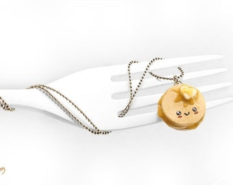 Kawaii Pancakes Necklace, Buttery Pancakes Pendant, Breakfast Necklace, Miniature Food Jewelry, Foodie Gift, Kawaii Necklace, Food Jewelry