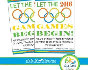 Olympic invitation etsy let the games begin olympic party invitation olympic invitations rio 2016 invites olympic 2016 stopboris Choice Image