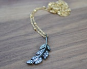 pave feather necklace /// genuine white topaz pave set in oxidized sterling silver /// mixed metal jewelry