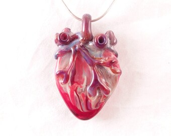 I love you Extra Large Anatomical Heart wearable heady art glass borosilicate glass pendant sterling silver or satin necklace  Free Shipping