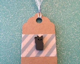 Lucky Cat Pin - Small Black Cat - Waving Cat - Tack Backing