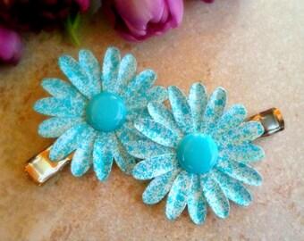 Blue Metal Flower Hair Clip Set Enamel Flower Alligator Clip Turquoise Blue and White Flower Barrettes Retro Speckled Aqua Flower Hairclips
