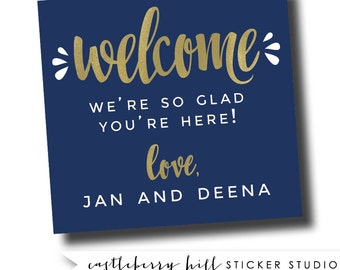 Handlettered welcome stickers, large welcome stickers, large labels for gable box, large sticker for welcome bag, wedding guest kit