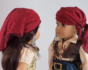 "Red Bandanna - 18"" doll accessories, boy girl doll clothes, dress up costume, pirate, cowboy, gypsy, sash, shawl, scarf, kerchief, babushka"