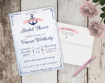 Tying the Knot Nautical Theme Bridal Shower Invitations - Navy Blue & Pink - FREE CUSTOM COLORS - Printed Invites with Envelopes