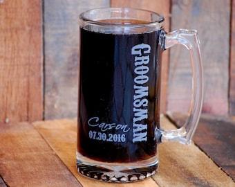 Personalized Beer Stein, Groomsman Wedding Gift, Custom Beer Mug, Best Man Gift, Groomsman Gifts, Wedding Party Favors, Wedding Favors Beer