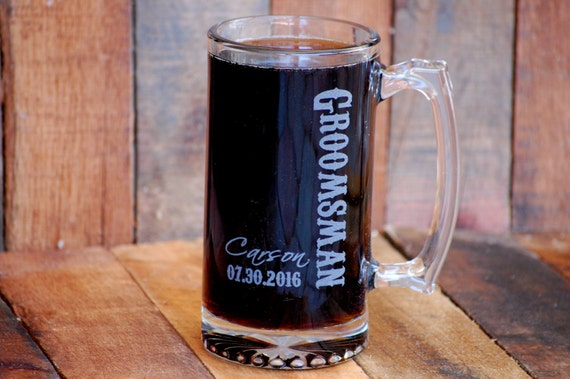 Personalized Beer Stein Groomsman Wedding Gift Custom Beer