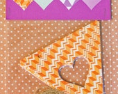 Heart Bunting Pack: Orange, Green and Purple