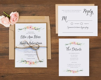 Romantic Watercolor Floral Wedding Invitations \\ Sample