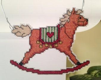 New Festive Rocking Horse Christmas Cross Stitch Ornament
