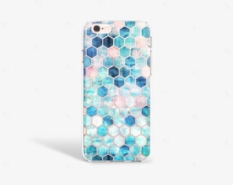 iPhone 7 Case Transparent iPhone 7 Plus Case Clear Mint iPhone 6S Case Hexagon Samsung Galaxy S7 Case Hexagon iPhone Case Geometric
