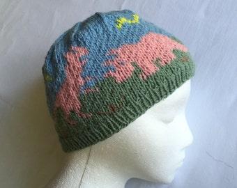 Pastel Dinosaurs Stocking Cap, Winter Hat, Beanie Dinos Winter Hat, Hand Knit