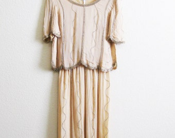 Silk Boho Beaded Gown Neiman Marcus - Dark Ivory Silk Crepe 2 Piece Evening Dress - Medium - 1970s Boho Gown Metallic Beads Gold SIlver