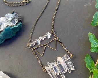 Quartz necklace - Quartz Pendant - Healing Crystal Necklace - Gemstone Necklace - Long Necklace - Boho Necklace - Chain Necklace
