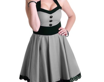 Fever rockabilly retro dress grey black lace buttons vintage 50's round gray skirt pin-up prom - Handmade in Italy Limited Edition