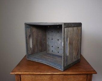 Milk Crate  ~ Alpenrose Dairy ~ 1960 ~ Storage ~ Wood Box ~ Rustic ~ Prop ~ Farm ~ Industrial