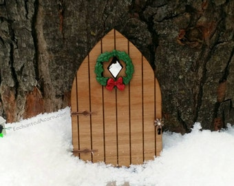 Fairy Garden Door with Christmas Wreath Brass Doorknob & Hinges - Holiday Miniature Garden Furniture, Wood Fairy Door, Fairy Accessory