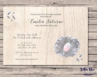 Bird's Nest Baby Shower Invitation, Egg in Nest Baby Shower Theme, Twins Baby Shower, 5x7 or 4x6, #712
