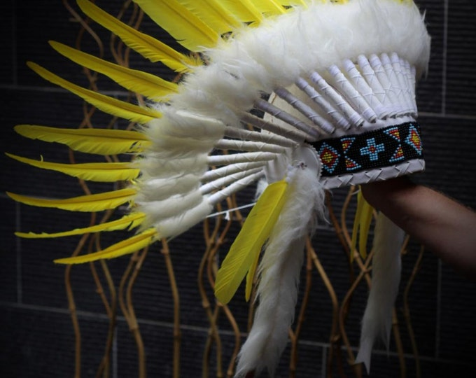 PRICE REDUCED X51 : Yellow  Warbonnet .Native American Style Feather Headdress