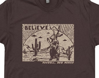 Roswell Jackalope T Shirt UFO T Shirts New Mexico T Shirt Aliens T Shirt Believe Cryptozoology Science Fiction Mens Womens Kids Graphic Tees