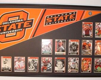 Oklahoma State University Cowboys College football Pennant & Card collage...Custom Framed!!