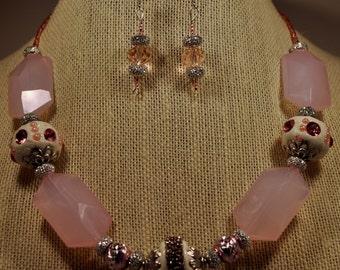 Pink statement necklace and earring set
