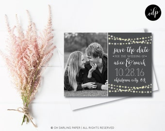 Printable Save the Date Postcard. String Lights Save the date. String Lights Postcard.