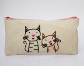cats zipper pouch / make up bag / pencil case/ hand embroidery on linen
