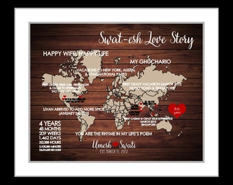 Custom world map for couples love story map personalized wedding anniversary gift engagement gift 4 year anniversary  gift digital art print