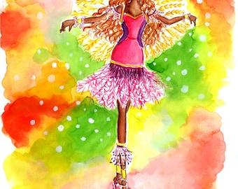 Samba Dancer, Samba Dancer Art, Samba Dancer Print, Samba Girl Art, Samba Girl Print, Samba Dance Art, Samba Dance Print