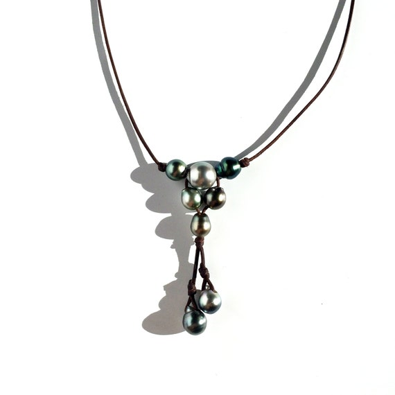 Tahitian Pearl And Leather Necklace: Pearls And Leather Necklace For Woman Tahitian By PerlaMundi