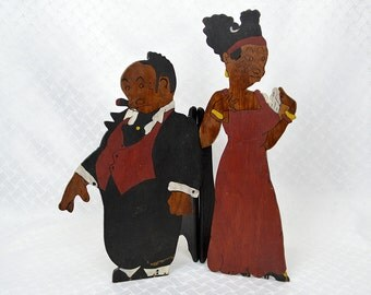 Bringing Up Father Maggie and Jiggs Wood Figural Folk Art