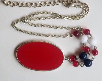 """Vintage Enamel Necklace Large Red Pendant Silver Tone Metal W Red White Blue Beads 18"""" Long Art Deco Retro Statement Chunky USA Jewelry"""