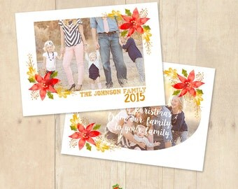 INSTANT DOWNLOAD 5x7 Christmas Card Photoshop Template - CA611