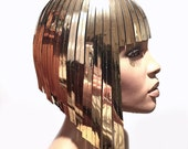 Cleopatra metallic wig hairdress in chrome or gold egyptian goddess wig bob hairpiece bobcut headpiece metal futuristic