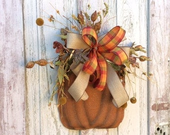 Burlap Pumpkin door hanger,Fall Door Hanger,Burlap Pumpkin Wreath Fall Pumpkin Door Hanger, Fall Wreath Alternative, Burlap Fall Door Hanger