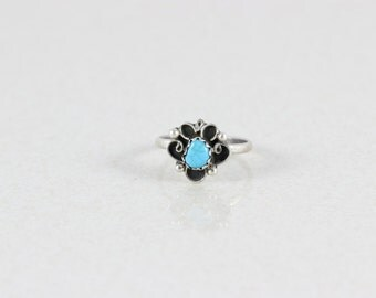 Sterling Silver Turquoise Navajo Band Ring Size 3