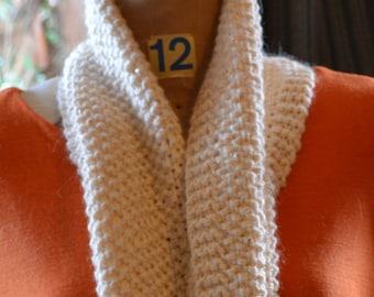 HandKnitScarf, AlpacaScarf WearableArt, ChristmasGift, NeckWarmer,CreamyWhiteScarfWinterScarf