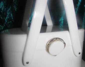 VINTAGE WILARDY Milk White LUCITE Purse with Classic Wilardy Lucite outlined Gold Metal Clasp Double Handle!