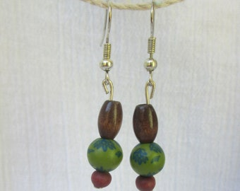 wooden & green bead earrings