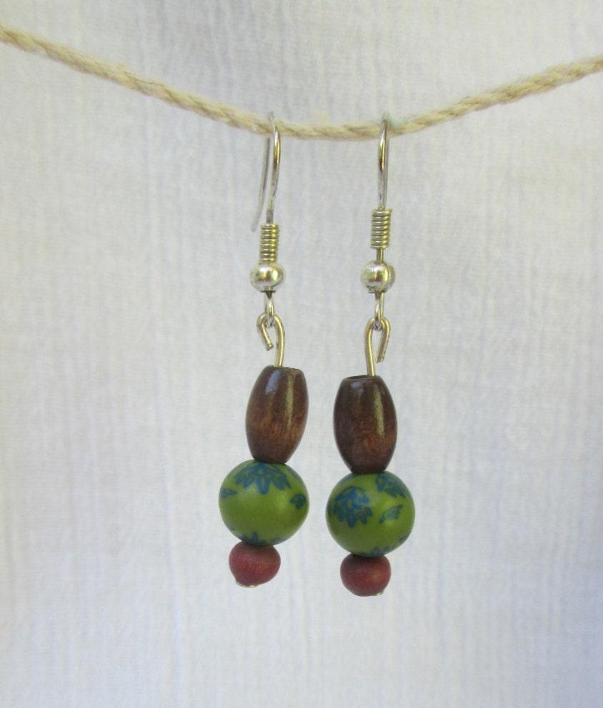 wooden green bead earrings by thehappyma on etsy