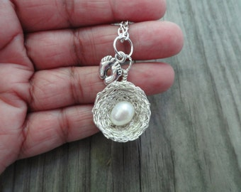 Fertility nest Necklace,hope fertility,pearl nest fertility necklace, pregnancy jewelry,maternity necklace.